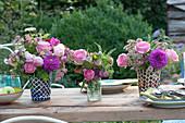 Ton-in-Ton Sträuße aus Rosen, Dahlien, Sterndolde und Schafgarbe