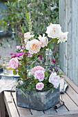Rosenblüten von 'Stanwell Perpetuel' und 'Crocus Rose'  in Flaschen