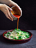 Turkish cracked wheat salad with capsicum sauce