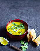 Red lentil soup with coriander