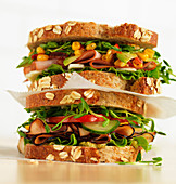 Sandwiches with ham, sweetcorn and lettuce