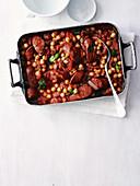 Kichererbseneintopf mit Chorizo in der Reine (Aufsicht)
