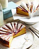 Rhubarb Custard Tea Cake