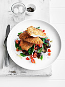 Crisp Parmesan Chicken with Eggplant Salad