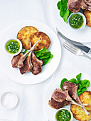 Lamb Cutlets with Crumbed Eggplants and Pesto
