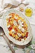 Tagliatelle with oven-baked tomato sauce and buffalo mozzarella