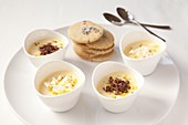 White Chocolate Mousse pots with lavender biscuits