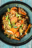 Oriental fried rice with carrots