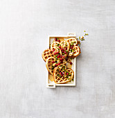 Spiced waffles with pomegranate seeds