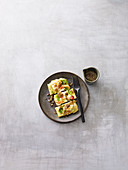 Pajeon waffles with prawns