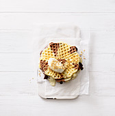 Waffle sandwiches with two kinds of chocolate