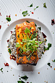 Tandoori Halibut on Squid Ink Risotto and Chillies