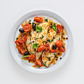 Seabream with cherry tomatoes, olives and capers