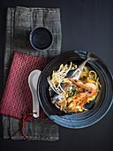 Shio ramen with fish and prawns