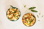 Cold pasta salad with sweet potato
