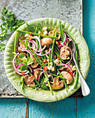 Mushroom, green bean and feta salad