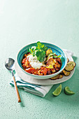 Chilli sin carne with sweet potatoes and yoghurt
