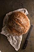 Frisch gebackenes Brot auf Mulltuch