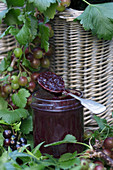Gooseberry and redcurrant jam in a glass with a spoon