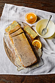 Courgette and poppyseed cake with orange essence