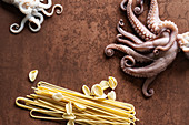 An arrangement of pasta and octopus