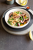 Fettuccine with rapini, octopus, savory and lemon