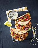 Tacos with pulled pork and Harissa