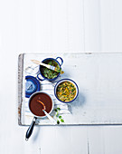 Old-fashioned bbq sauce, tomato herb chimichurri and all-round marinade for meat and chicken