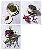 DIY-Gesteck mit Tulpen, Eukalyptus und rosa Pfeffer in Sauciere