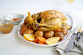 Crockpot roast chicken with potatoes