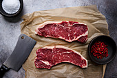Raw New York strip steaks