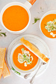 Carrots and fennel roasted soup served with focaccia bread