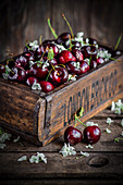 Fresh Cherries in a wooden box