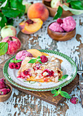 Apple, peach and raspberry strudel