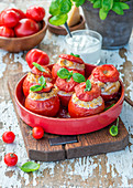 Tomatoes stuffed with chicken and bulgur