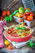 Pie with cheese and tomatoes