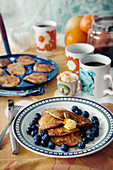 Almond pancakes with orange butter