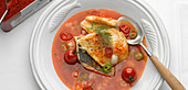 Hungarian fish soup with peppers