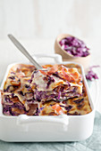 Lasagne with bacon and red cabbage