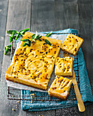 Passion fruit cheesecake tray bake