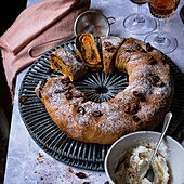Pumpkin and rum strudel with sultanas and pumpkin spice whipped cream