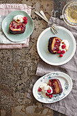 Guinness cake with raspberry and redcurrant jam