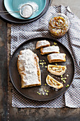 Ricotta strudel with fig and pistachio jam