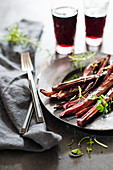 Roasted salsify in red wine