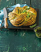Braided basil pesto bread