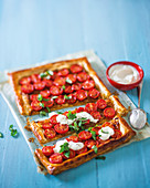 Tomato, feta and caramelised onion tart