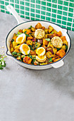 Curried butternut hash with dukkah dusted boiled eggs