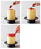 A drip cake being decorated