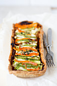 Vegetable Color Spiral Tart with Zucchini, Carrots, White Cheese and Tomato Pesto
