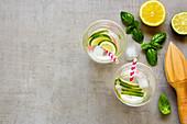 Healthy homemade lemonade in glasses